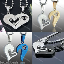 Set Stainless Steel Couple Heart I Love You Crystal Pendant Chain Necklace Gift