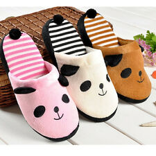 Korean Coral Velvet Panda With Tail Warm Soft Anti-slip Home Slippers Shoes Lady
