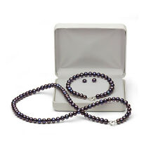DaVonna Silver FW Pearl Necklace Bracelet and Earring Set with Gift Box