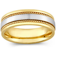 14k Two-tone Gold Men's Rope Detail Comfort Fit Wedding Band (8 mm)