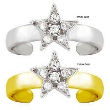 10k Gold Diamond Accent Pave Star Toe Ring