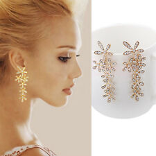 Luxury Fashion Rhinestone Crystal Snowflake Flower Long Dangle Earrings Ear Stud