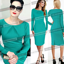 Women Elegant Vintage Bodycon Stretch Fitted Shift Sheath Party Pencil Dress 803