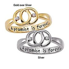 Sterling Silver 'A Promise is Forever' Engraved Diamond Promise Ring