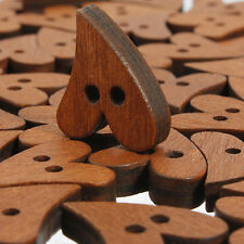 10/100X Heart Shape Brown Wooden Sewing Button Craft Embellishment Decor 2 Hole