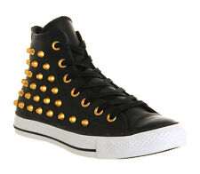 Mens Converse All Star Hi Lthr BLACK GOLD STUDS EXCLUSIVE Trainers Shoes