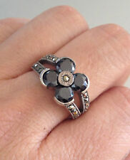 STERLING SILVER ONXY MARCASITE RING BEAUTIFUL FLOWER SHAPE