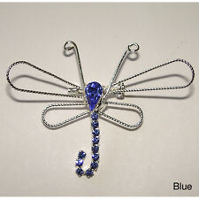 Dragonfly Wire and Crystal Pin