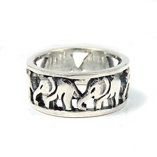 Cut Out Thai Elephant Family Caravan Sterling Silver Ring (Thailand)
