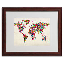 Michael Tompsett 'World Map... Butterflies' Framed Matted Art