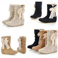 Women Winter Warm Mid Calf Snow Boots Lace Bowknot Low Heel Flat Wedge Shoes