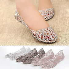 3039 New Summer Flat Shoes Galoshes Hollow Out Bird's Nest Sandal Pink Silver O