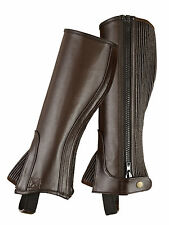 ADULTS HALF CHAPS BROWN TOP QUALITY FULL GRAIN COWHIDE LEATHER-ALL SIZES