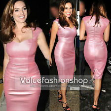 Womens Celebrity Pinup Synthetic Leather Party Cocktail Evening Pencil Dress 489