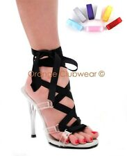 PLEASER GALA63/C/M Sexy High Heels Multi Color Ribbon Lace Up Clear Sandals