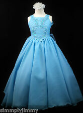 Girls Teen Girl National Glitz Pageant Long Dress Blue Sz 3 4 5 6 7 8 10 12 14