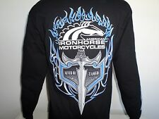 AMERICAN IRONHORSE CUSTOM MOTORCYCLE LONG SLEEVE TEE SHIRT WITH MATCHING FLAMES