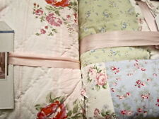 Simply Shabby Chic Quilt:Garden Rose Wallpaper Ikat Pink Ruffle Tan Blue Ruffle