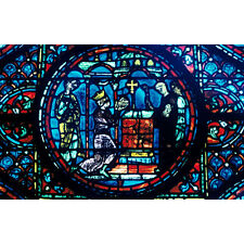 'Stained Glass Window from the Cathedral of Chartres, France' Photography Wall A