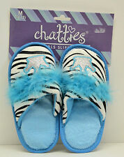 Girls Blue Slippers Sparkle Princess Crown Zebra Print NWT - Free Shipping USA!