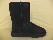 Women's Black Uggs Classic Short Boots- 5825-BLK