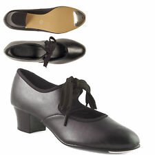 Black Cuban Heel PU Tap Shoes with toe taps Girls Ladies by Dance Gear CHPB