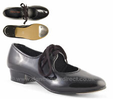Shiny Black Patent Low Heel Tap Shoes with toe taps Girls by Dance Gear LHPPB