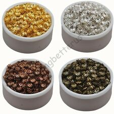 800 Pcs Gold Silver Bronze Brown Plated Hollow Flower End Beads Caps Charms 6 mm