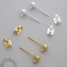 EARSTUD EARRING POST with EARNUTS 4mm FULL BALL with LOOP 48pcs