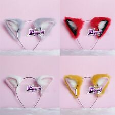 Anime Party Cosplay Costume Long Fur Cat Fox Ears Headband Mixed Colors