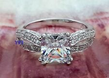 .925 Sterling Silver Princess Cut CZ Accents Vintage Style Ring Sizes 5 6 7 8 9