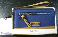 "CALVIN KLEIN BI-FOLD LEATHER  CLUTCH WRISTLET- ""INK BLUE"" - NIB-MSRP $108-"