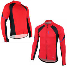 New Red Men's Cycling Bicycle Long Sleeve Comfortable Shirts Bike Jersey M-2XL