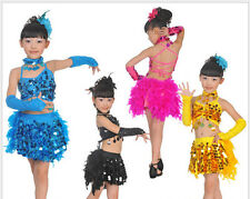 Fashion New Girls Sequined Feather Latin Dancewear Kids Tutus Show Dress Costume