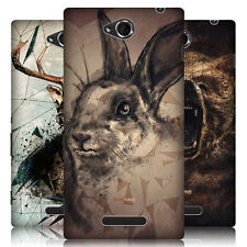 HEAD CASE POLY SKETCH PROTECTIVE SNAP-ON BACK CASE COVER FOR SONY XPERIA C C2305