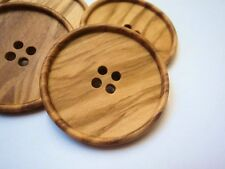 3pcs HUGE VERY LARGE ITALIAN OLIVE WOOD BUTTONS 38mm-NATURAL W1640