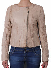 100% Ladies Real Leather Jacket Fitted Bikers Style Vintage Tan Brown Rock