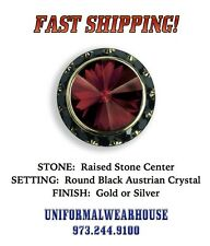 Raised RED Stone BLACK CRYSTAL Mandarin Band Shirt Tuxedo Button Cover #212