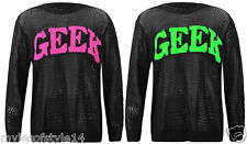 Womens Text Neon Geek Print Crochet Knitted Jumper Ladies Sweater Top Plus Sizes