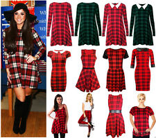 New Women Red Tartan Check Swing Skater Dress Vest Top Skirt Legging Plus Size