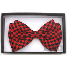 Bow Tie PreTied Tuxedo Black And Red CHECKER BOARD Adjustable BowTie NEW IN BOX