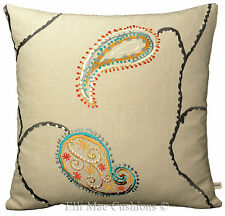 Design Forum Odalisque Embroidered Leaf Burnt Clay Sofa Cushion Pillow Cover