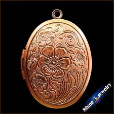 Wholesale 23X30mm Retro Brass Flower Oval Picture Locket Pendant beads jewelry