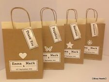 Personalised Brown Paper VINTAGE STYLE Gift Bag Wedding Party Christening Favou