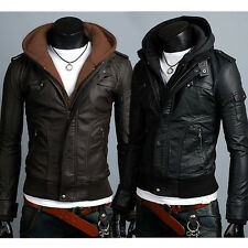 New Mens Slim Fit Faux Leather Jackets With Hooded removeable Coats SIZE:M-XXL
