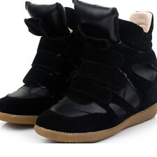 Black New Womens Velcro Strap Ankle Wedge Boots Free P&P High-TOP Sneakers Shoes