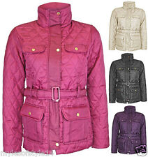 Womens Ribbed Collar Belted Diamond Quilted Jacket Ladies Winter Coat Plus Sizes