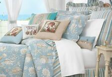 NATURAL SHELLS 7pc Full / Queen QUILT SET - AQUA TROPICAL BEACH SHELL STARFISH