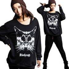 Loose Casual Cute Cat Head Girls T shirt Crewneck Animal Print Long Sleeve Tops