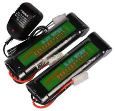 2X 8.4V 3800mAh NiMH Rechargeable Battery Cell Pack For RC Airsoft + Charger New